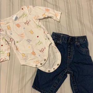 Baby Set: One bodysuit, one pair of denim jeans